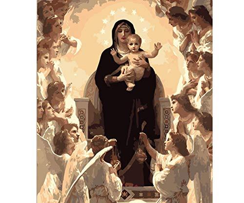 Figura de la Virgen María DIY Pintura digital por números Arte moderno de la pared Pintura de la lona Decoración única para el hogar 60x75cm sin marco