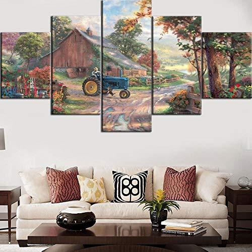 ZNNHERO Cuadro sobre Lienzo 5 Piezas de Pintura de impresión HD Casa del Agricultor en el Espacio Original Tipo Cartel Inicio Decorativo Impresiones en Lienzo