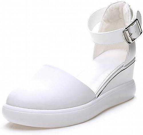 TYERY Neto rojo blanco zapatos Baotou Pendiente con Aumento de Sandalias Femeninas Transpirables zapatos Casuales, blanco, 38