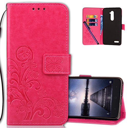 ZTE Z Max Pro Wallet Case Leather COTDINFORCA Premium PU Embossed Design Magnetic Closure Protective Cover with Card Slots for ZTE ZMAX PRO Z981 (2016). Luck Clover Rose