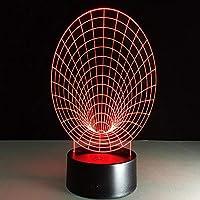 HOHHJFGG 3DステレオビジョンナイトライトクリエイティブロマンチックベッドルームライトアクリルリモートタッチスイッチライトUSBスライド
