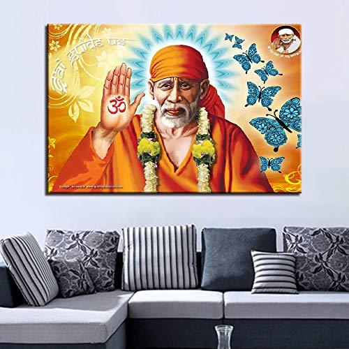 YHZSML Wandkunst HD Drucke Dekoration 1 Stücke Lord Sai Baba GIF Leinwand Malerei Abbildung Modulare Bilder Klassische Kunstwerk Poster Eine 30x45 cm x 1