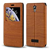 Lenovo A2010 Case, Wood Grain Leather Case with Card Holder
