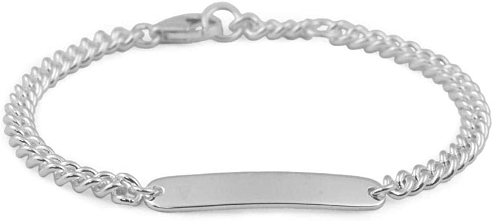 Boys And Girls Sterling Silver Curb Diamond ID Plain Chain Mail order New mail order cheap Or Br
