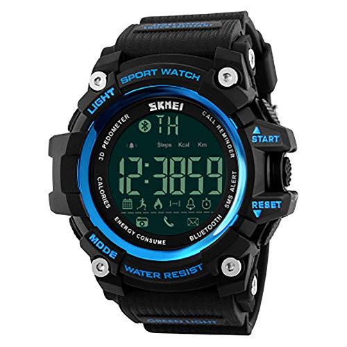 Reloj de pulsera digital para hombre con podómetro, altímetro, barómetro, militar, resistente al agua, 50 m, reloj de pulsera EL, luz de fondo, rastreador de fitness watch-D