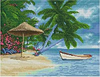 クロスステッチキットスタンプ済み刺繍スターターキット初心者向けDIY 休日の海辺 16×20インチ