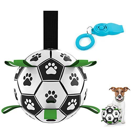 WeChip pelota juguete perro,Juguetes Perro Masticar,Productos para Mascotas Perros,Juguete morder Perro con tubo inflable,Fútbol juguete interactivo perro para Entrenamiento y Ejercicio en Exteriores.