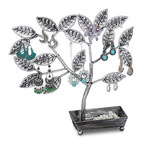 Relaxdays 10033023 - Árbol para joyas con bandeja (68 pares, hierro, 31 x 31 x 8,5 cm), color negro y plateado