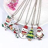 FafSgwq Albero di Natale da Donna Pupazzo di Neve Collana con Ciondolo Babbo Natale Collana Ciondolo di Natale Carino E Adorabile Calzini