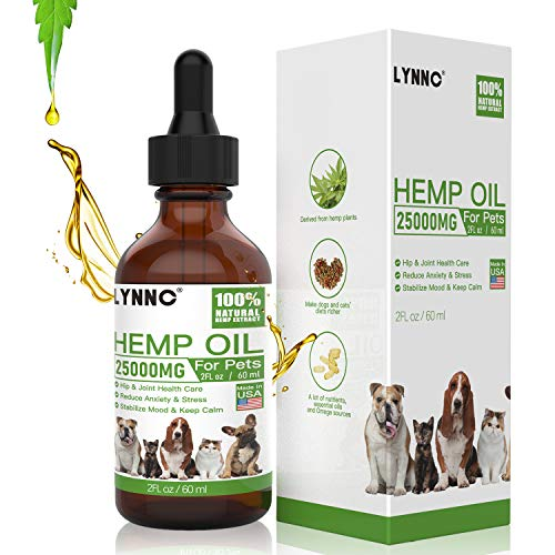 LYNNC Hemp Oil for Dogs Cats - 25000 MG - Pet Hemp Oil - Support Hip & Joint Health, Separation...