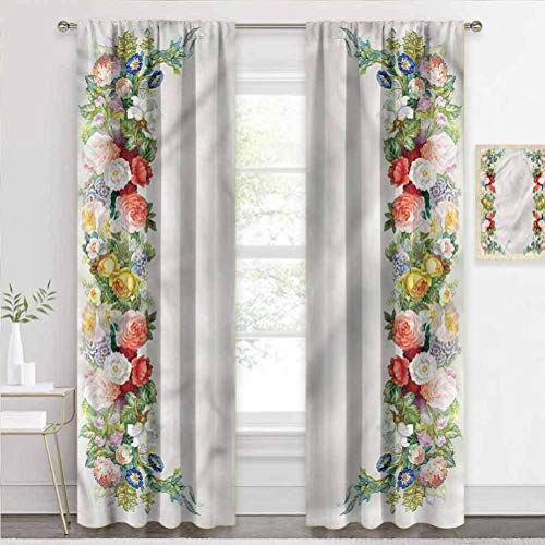 painting-home Rod Pocket Window Curtains Victorian, Rose Garland Pastel Blackout Patio Door Curtain Panel Help Improve Your Sleep W84 x L72 Inch
