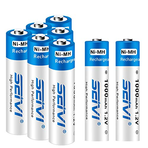 SEIVI Wiederaufladbare AAA-Batterien, 8 Stück, Ready-Charge, 1000 mAh, Ni-MH-Akku.