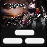 8er Set reflektierende Aufkleber Helmaufkleber 3M Technology Schwarz Motorradhelm Sicherheit (K132 Rechteckig Reflektierend)