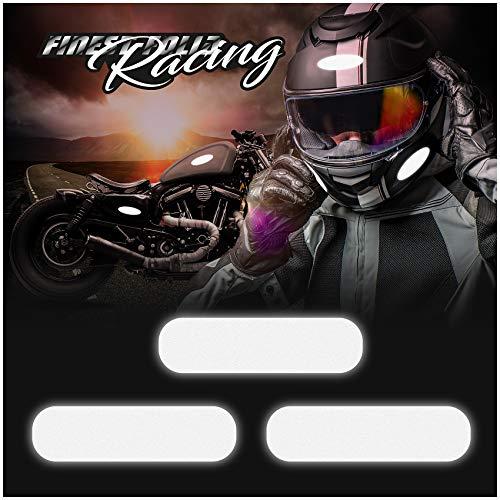 8er Set reflektierende Aufkleber Helmaufkleber 3M Technology™ Schwarz Motorradhelm Sicherheit (K132 Rechteckig Reflektierend)