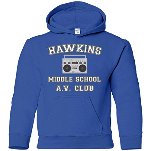 Hawkins Middle School Hoodie Sweatshirt (Youth Royal, Kids 14-16/Youth L