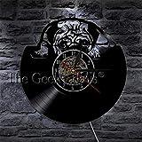 かわいいパグ犬ビニールレコード壁時計動物キッズルーム犬の装飾壁時計家ペット子犬手作りCDタイムクロックLEDライト