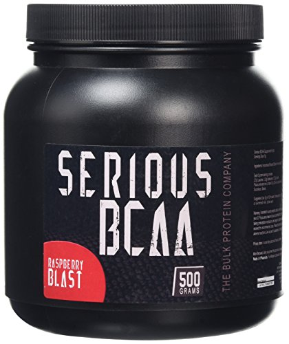 The Bulk Protein Company Serious BCAA Powder 500g, 100 Servings Pre Workout - Helps Build Muscle - Raspberry Blast