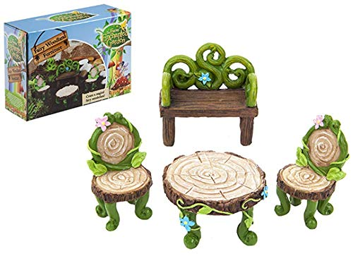 Pixieland Secret Fairy Garden 4pc Woodland Furniture set