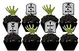 ArtMuseKitsMikash Halloween Party Tombstone Graveyard Cupcake Picks - 24 pcs