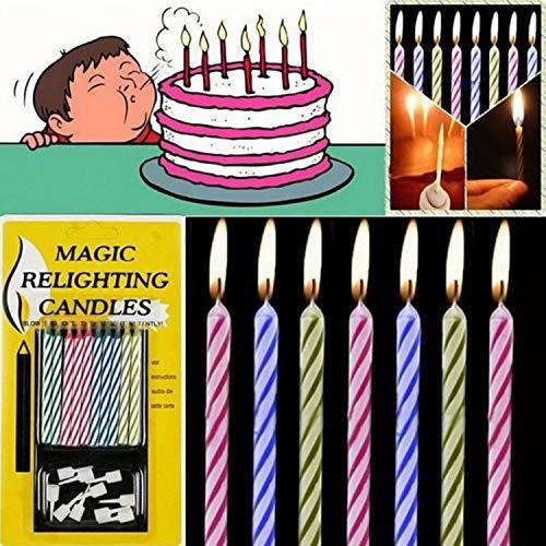LIOPIO 10 velas mágicas Relighting para tartas de cumpleaños, fiestas, bromas con soporte para juegos educativos