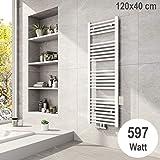 Badheizkörper 1200x400mm Mittelanschluss 597 Watt Weiß