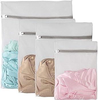 4-Pack Owl Focus Zipper Mesh Laundry Bags (White C4)