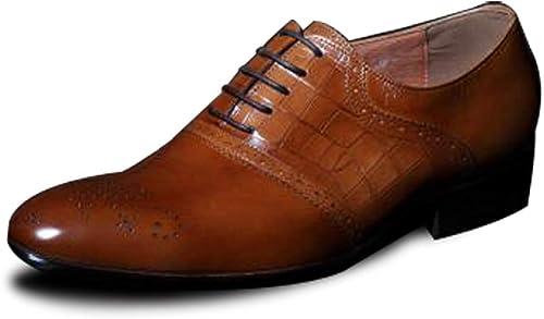 Rui Landed Oxford para Hombre Brogue zapatos Lace Up Style Premium Tallado en Cuero Genuino Textura Punta Estrecha Low Top Middle Heel Business Casual Discoteca (Color   amarillo, tamaño   38 EU)