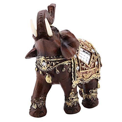 Caredy Estatua de Elefante de Feng Shui Lucky Wood Grain Escultura de Estatua de Elefante tailandés Riqueza Lucky/Figurine Gift para decoración del hogar, decoración de oficinas(L)