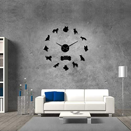 YQMJLF Reloj Pared DIY 3D Grande Pastor DIY Reloj de Pared Pastor Perro Reloj de Pared Gigante con Grandes Agujas Efecto de Espejo Arte de Pared de Perro Lobo alsaciano Decor Navidad Regalos Negro