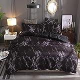 Ropa de cama con aspecto de mármol, ropa de cama de color negro, 135 x 200 cm, moderno negro, gris, violeta, blanco,funda...