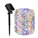 Heaffey Outdoor Solar Fairy String Lights,40 FT 120 LED 8 Lighting Modes Copper Wire Light,Waterproof Solar Powered Decoration for Wedding Patio Yard Trees Christmas Party(Multicolor,1 Pack)