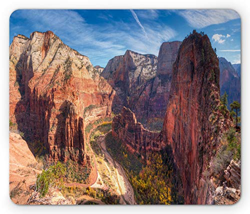 Lunarable Zion National Park Mouse Pad, Breathtaking View of Zion Canyon from Angels Landing Wild Nature Photo, Rectangle Non-Slip Rubber Mousepad, Standard Size, Red Coffee