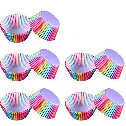 Cloverclover - Moldes para cupcakes (100 unidades), diseño de arcoíris