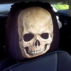 CAR SEAT HEAD REST COVERS PACK BROWN SKULL DESIGN MADE YORKSHIRE