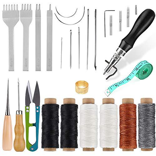 レザークラフト 手縫い 革工具セット レザークラフト 手縫いセット 蝋引き紐 縫い針 千枚通し ステッチンググルーバー 菱目打ち DIYレザーツールセット