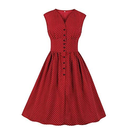 Lulupi Damen Vintage Cocktailkleid, Geblümtes Kleid Knöpfe Blusenkleider Elegantes Boho V Ausschnitt Ärmellos Minikleid