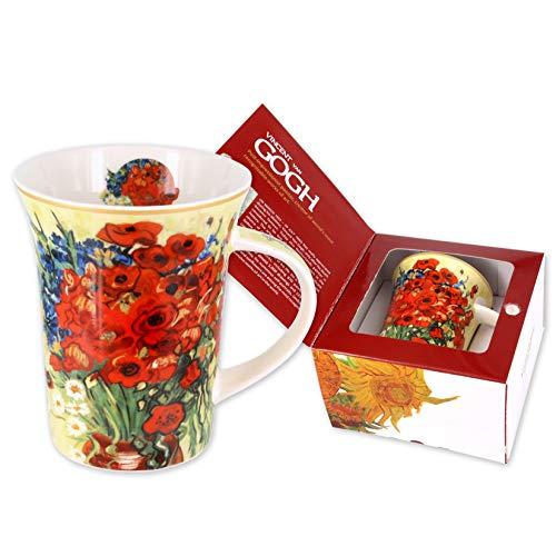 Carmani - Taza de porcelana decorado con 'Amapolas rojas y margaritas' de Vincent Van Gogh 350ml