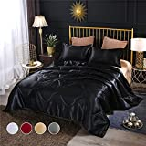 Btargot Black Satin Silky Soft Quilt Warm Light Weighted Luxury Microfiber Bedding Comforter Set Queen Size