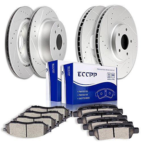 Brake Rotors Pads kits,ECCPP Slotted Drilled Rotors and Ceramic Disc Brake Pads Set for Nissan 350Z 370Z,Infiniti EX35 EX37 G25 G35 G37 M35 QX50