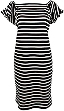 LAUREN RALPH LAUREN Womens Varsteen Striped Off-The-Shoulder Casual Dress