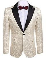 COOFANDY Men's Floral Party Dress Suit Stylish Dinner Jacket Wedding Blazer One Button Tuxdeo, Beige White, US XXL