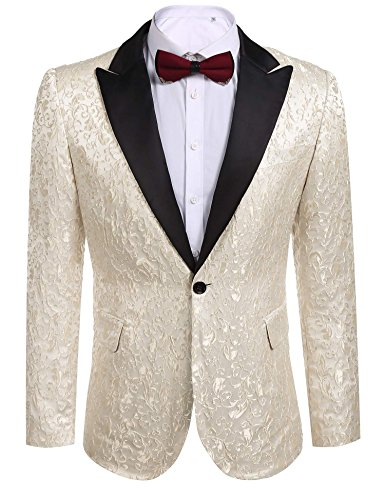 COOFANDY Mens Floral Party Dress Suit Stylish Dinner Jacket Wedding Blazer One Button Tuxdeo,Beige White,US M(Chest 44.9)