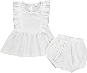 Y56 TM  Infant Baby Girl Off Shoulder Fly Sleeve Pure Color Ruffles Tops Shorts Outfits Set 6M-3Y