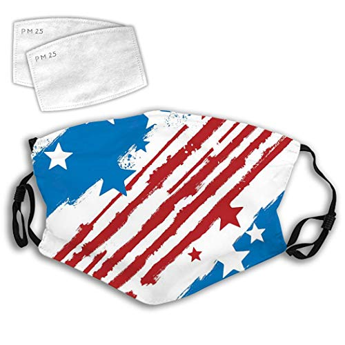 Stars Stripes Unisex Adult Youth Anti Dust Mouth Breathable Adjustable Earloop Mouth With Filter