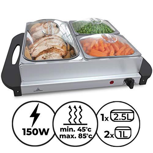 Buffetwärmer - Elektrisch, mit Heizplattenfunktion, Setwahl, Temperaturregler, Edelstahl - Warmhaltegerät, Speisewärmer, Warmhalteplatte, Warmhaltebehälter (1er, 1x2.5L+2x1L)