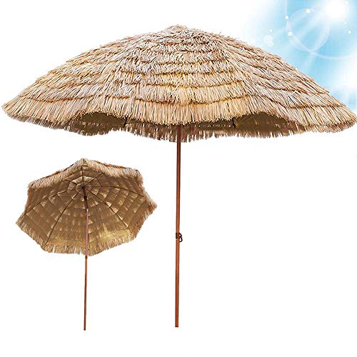 SHANJ Parasol de Paja para jardín de 2,4 m/8 pies con Función de Inclinación,Sombrilla de Playa de Estilo Hawaiano con Protección UV,Paraguas de Terraza Redondo de Rafia,Beige