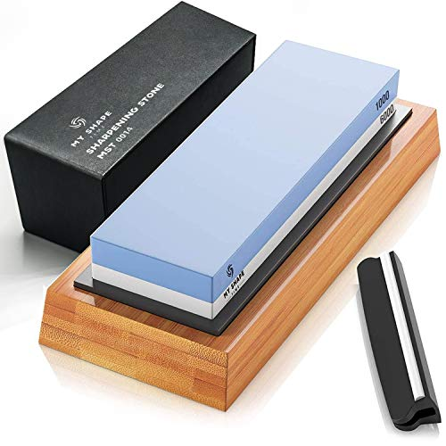 Whetstone Knife Sharpening Stone Set, Premium 2-Sided Whetstone Sharpener 1000/6000 Grit Whetstone Kit with Non-Slip Bamboo Base and Silicon insert Angle Guide for Chef Knife and Kitchen Knife