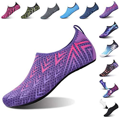 L-RUN Womens House Slipper Women Summer Beach Shoes Swim Shoes Purple S(W:4.5-5.5)=EU35-36