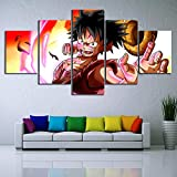 None brand 5 Unidades Wall Art Anime Poster Picture One Piece Monkey D Luffy Poster Wall Painting para el hogar Decoración Moderna Canvas-30x40 30x60 30x80cm Sin Marco