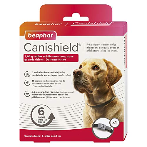 BEAPHAR - CANISHIELD 1,04 g – 1 collier antiparasitaire pour grands chiens – Substance active : Deltaméthrine - Agit contre les tiques, les puces et les phlébotomes